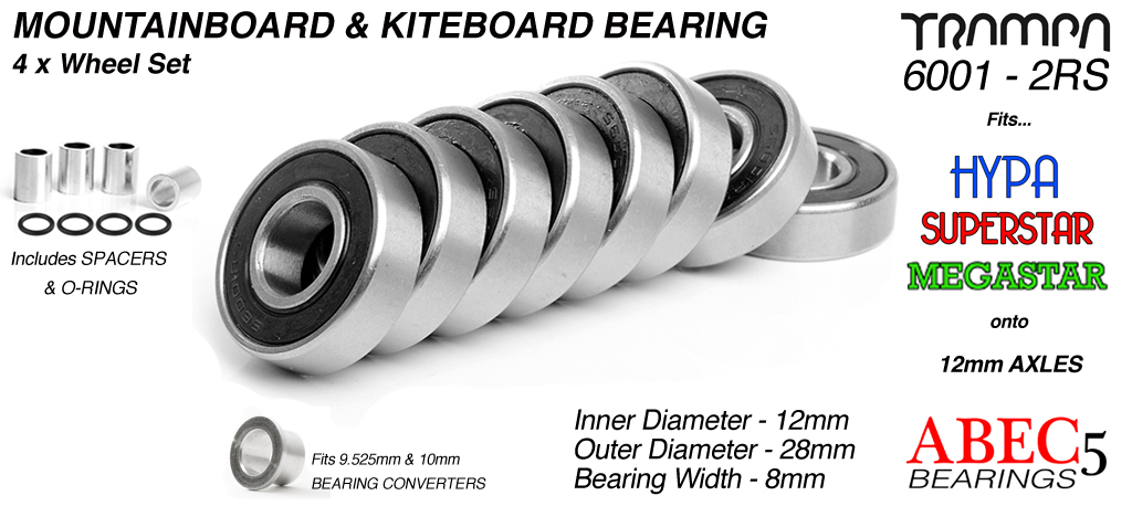 12mm Bearings - 12mm x 28mm axle ABEC 5 rated BLACK Rubber Sealed Sidewalls x4 Wheels