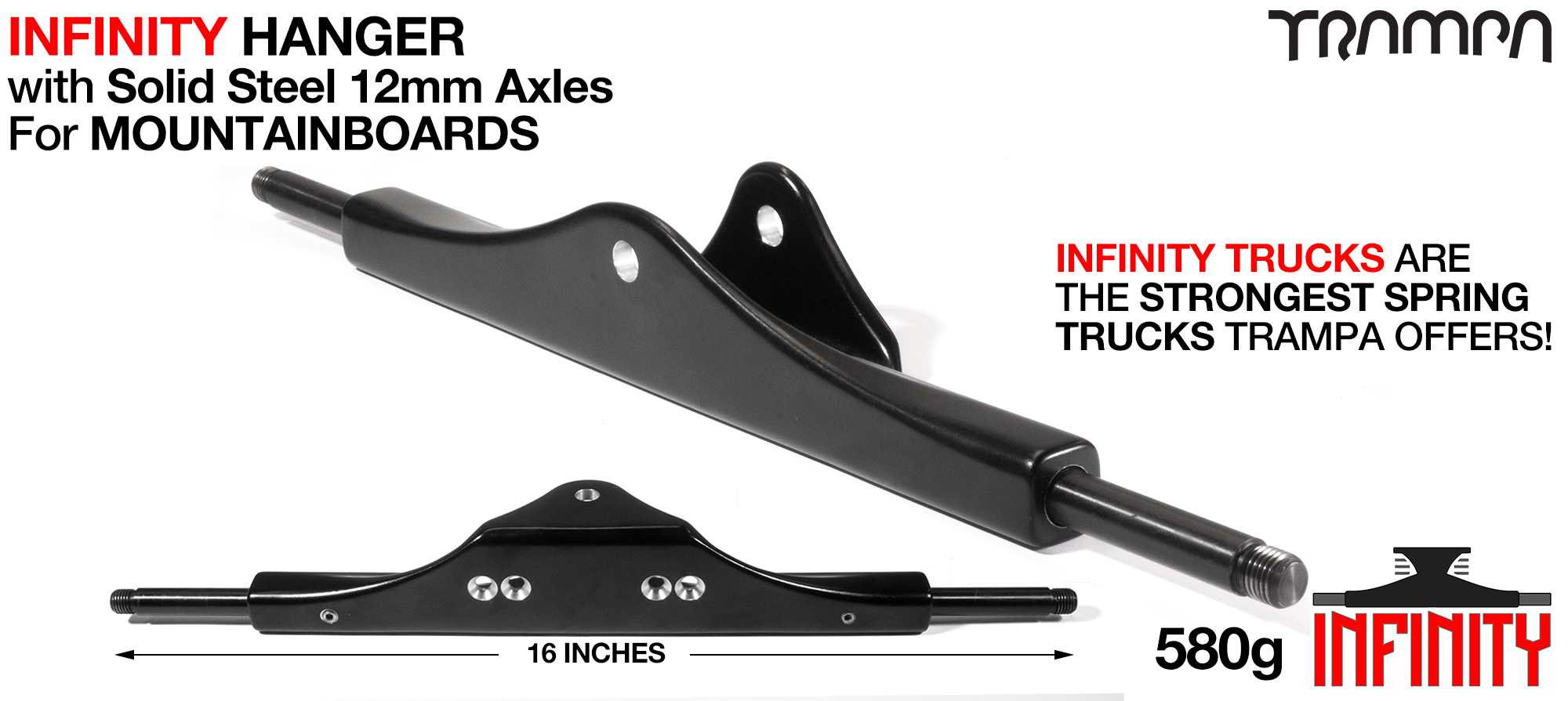 INFINITY ATB Hanger - 12mm SOLID Axles Powder coated Black & CNC'd Kingpin hole
