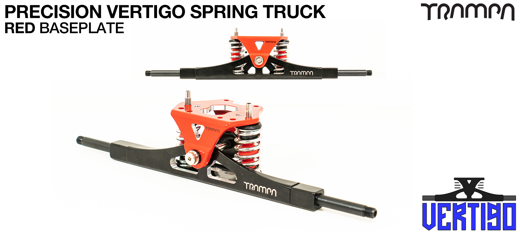 PRECISION CNC VERTIGO Truck RED - 12mm Hollow Axles with RED CNC baseplate & Steel Kingpin TRAMPA Spring Trucks