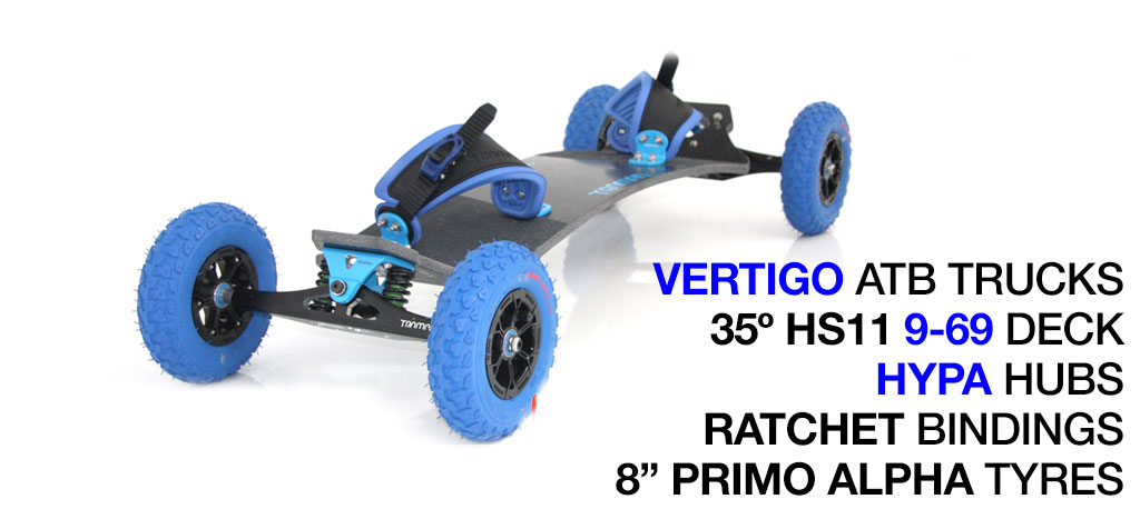 Mountainboard - 35� HOLY PRO deck on VERTIGO trucks with 8 inch HYPA wheels & RATCHET Bindings - BLUE