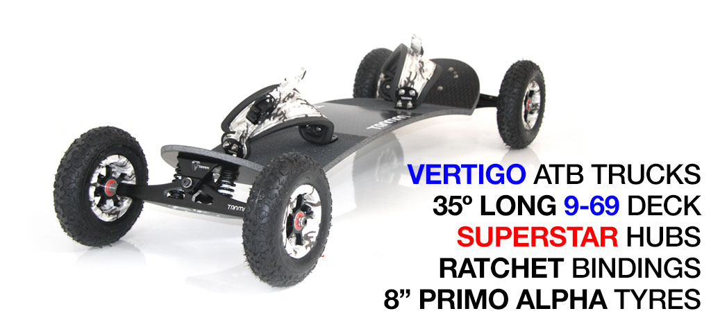 Mountainboard - 35� Long Deck On VERTIGO Trucks With 8 Inch SUPERSTAR Wheels & RATCHET Bindings - WINTER CAMMO