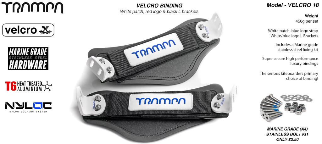 Nylon Hook Bindings - White patch with Blue logo Nylon Hook straps White L Brackets