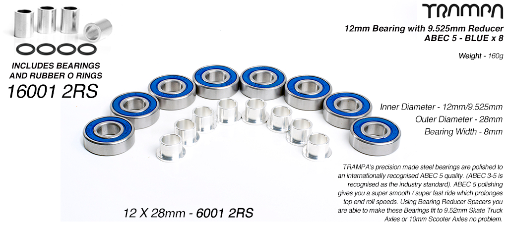 BLUE 12x28mm Bearings & 9.525mm Reducers x8 (+£5) - OUT OF STOCK
