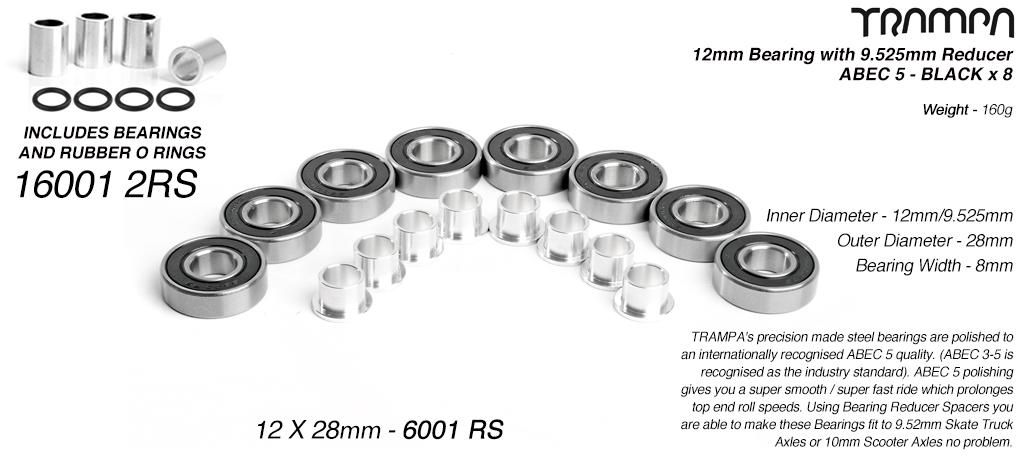 BLACK 12x28mm Bearings & 9.525mm Reducers x8 (+£2.50)