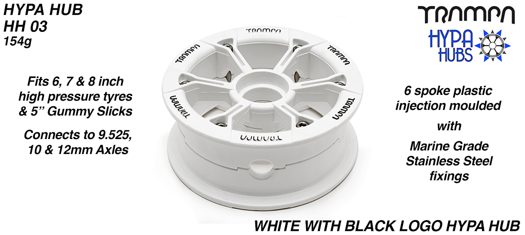 WHITE Gloss with BLACK Logo HYPA HUB - Including Nuts, Bolts & Bearing Spacer.