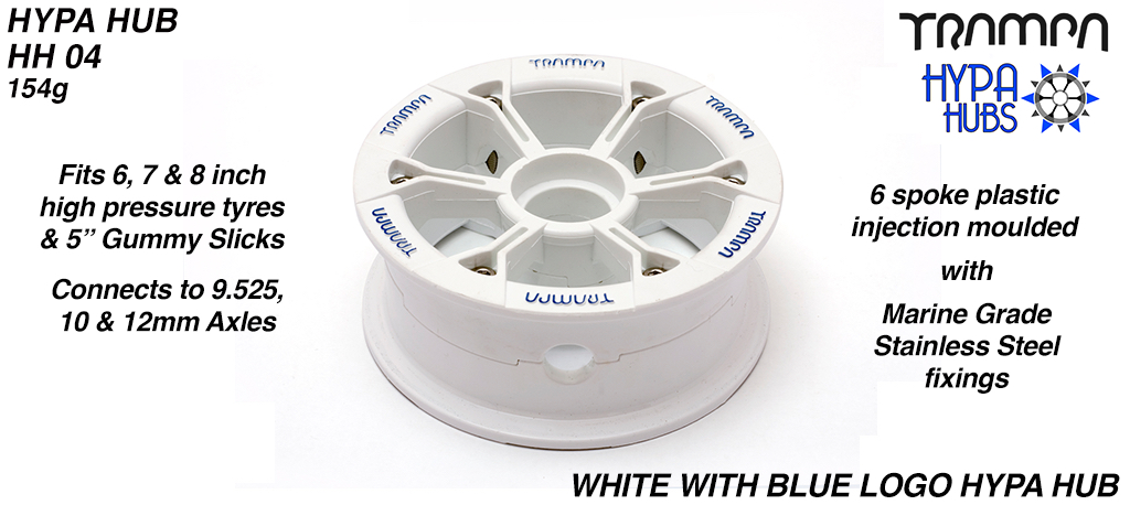 WHITE Gloss with BLUE logo HYPA HUB - Including Nuts, Bolts & Bearing Spacer.