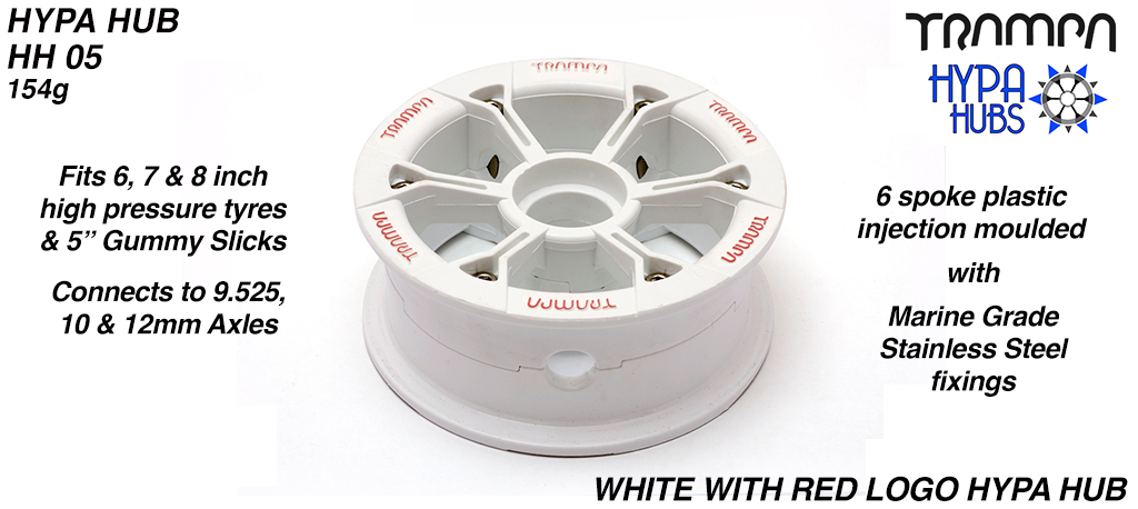 WHITE Gloss with RED logo HYPA HUB - Including Marine Grade Stainless Steel Nuts & Bolts