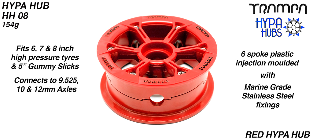 RED Gloss with BLACK logo HYPA HUB - Including Marine Grade Stainless Steel Nuts & Bolts