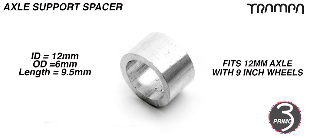 Bearing support Spacer for Primo hubs on 12mm Axles - 12 x 16 x 9.5mm