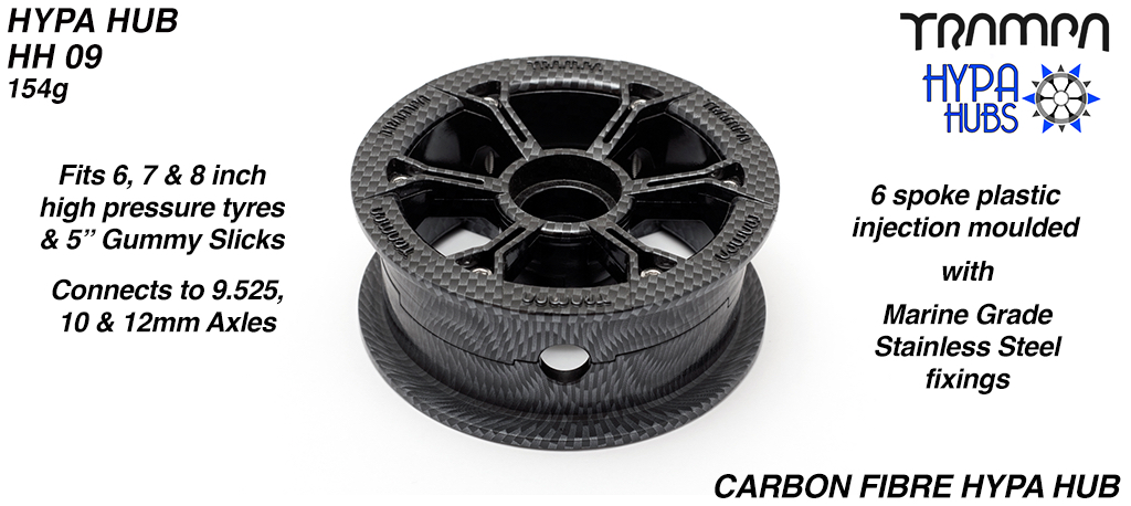 CARBON FIBRE print HYPA HUB - Including Nuts, Bolts & Bearing Spacer.