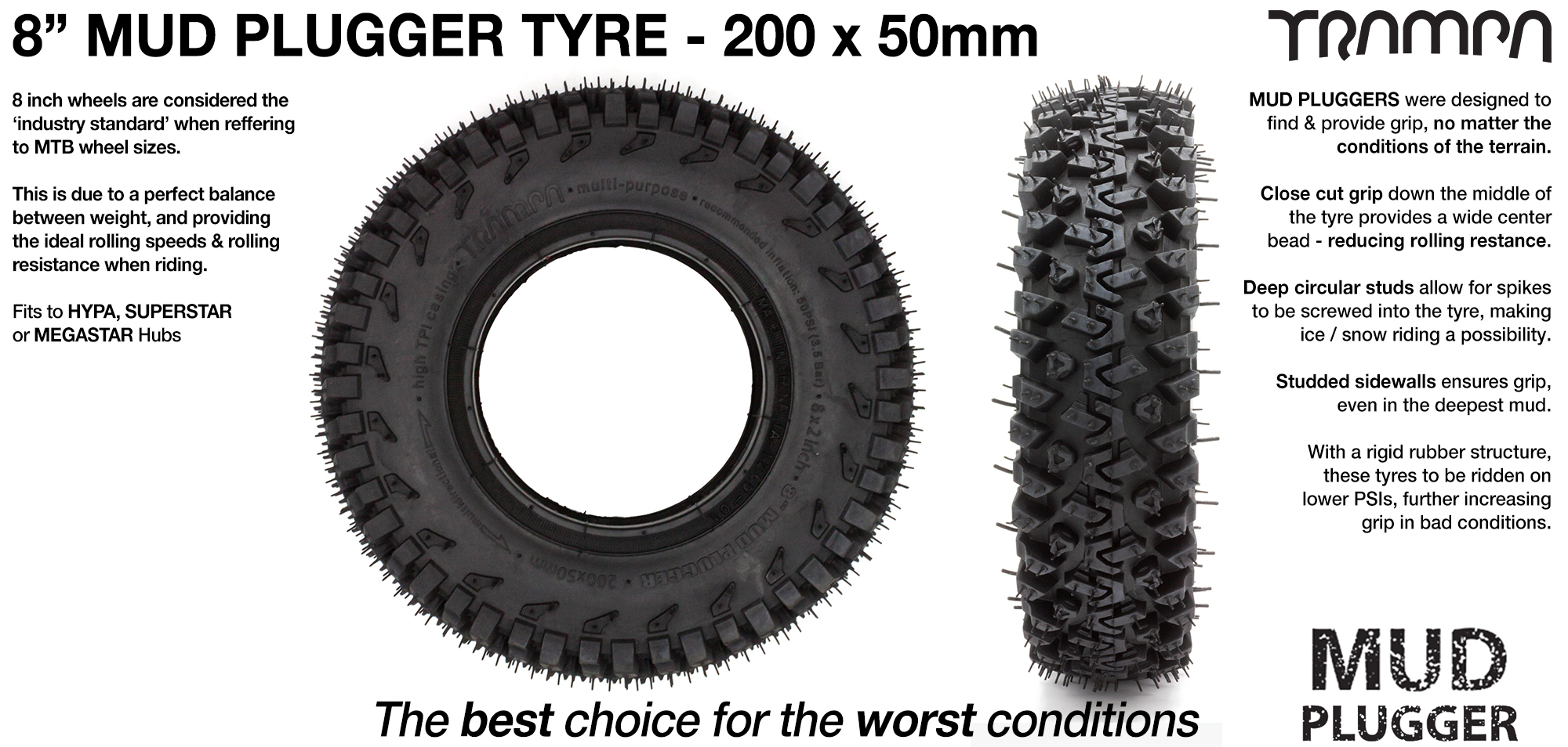 8 Inch BLACK MUD-PLUGGER Tyre & Tube (+£5)