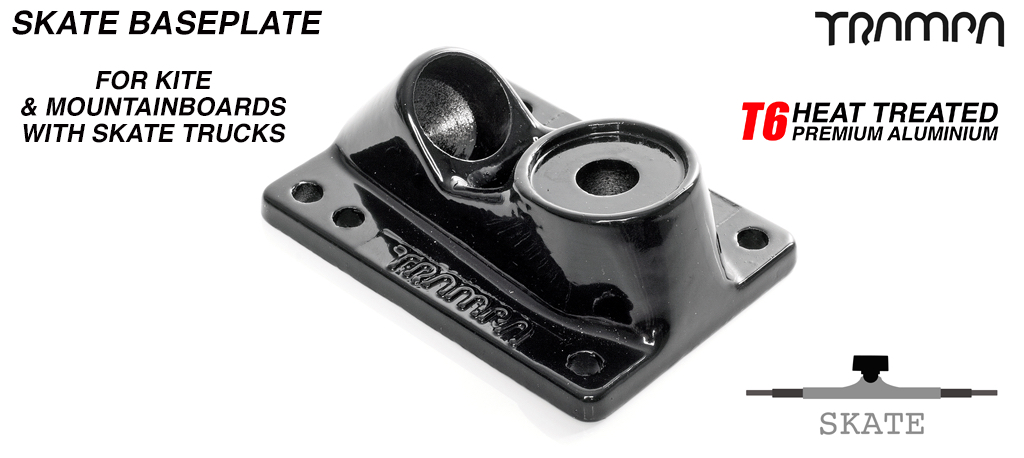 Skate Truck Baseplate - Trampa embossed, Bead polished & Powder coated - BLACK