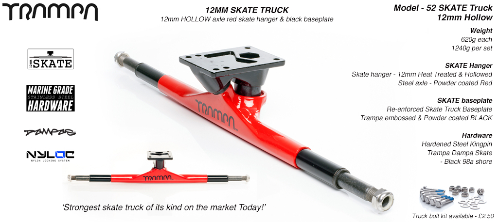 52 - RED 12mm HOLLOW Axle skate truck
