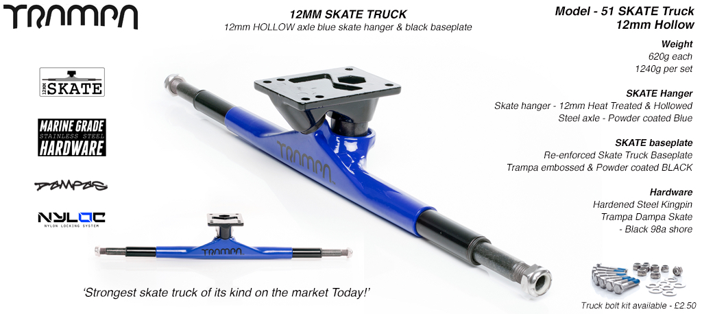 12mm Hollow Axle Skate Truck - Powdercoated BLUE with Black Trims