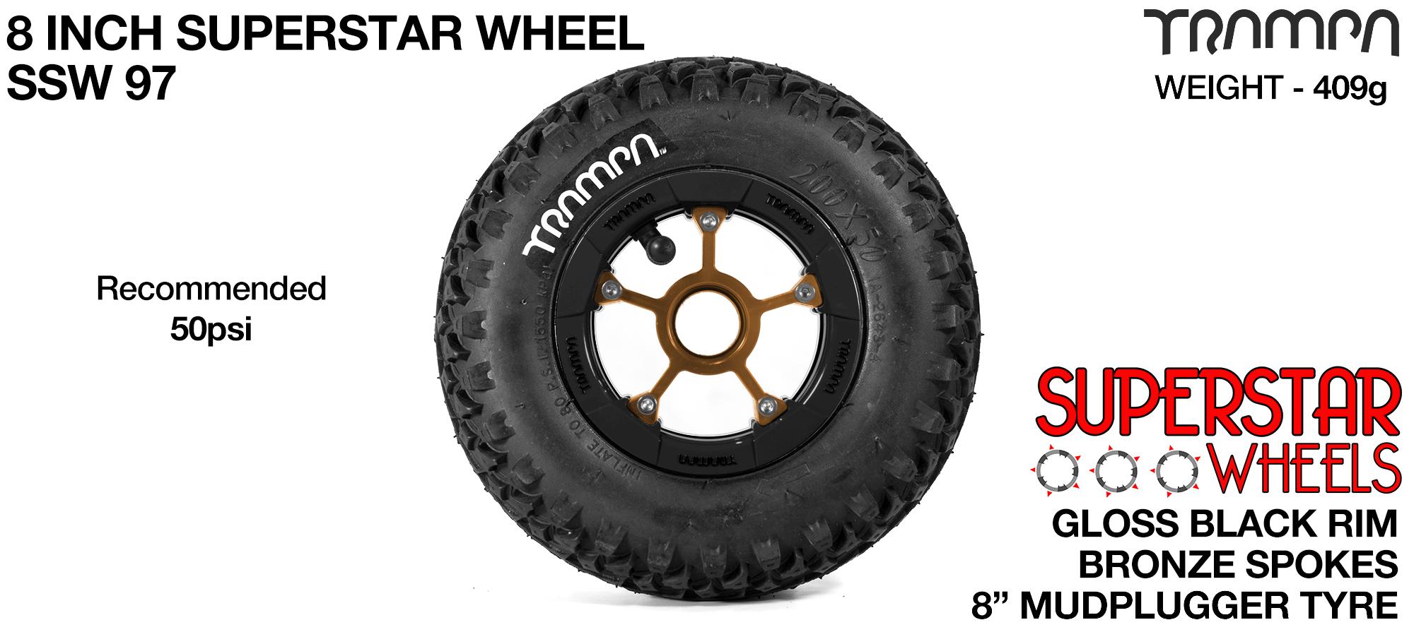 Superstar 8 inch wheel -  Black Gloss Rim Bronze Anodised Spokes & Mud Plugger 8 Inch Tyre