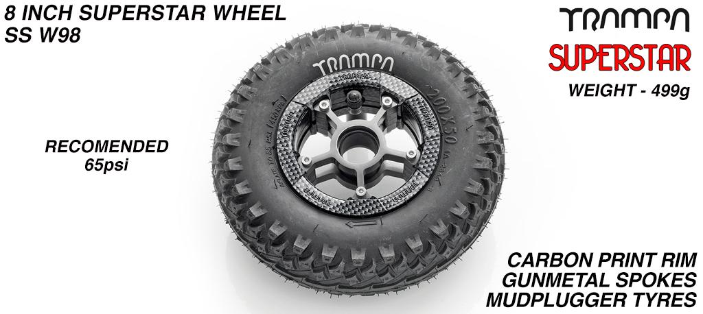 Superstar 8 inch wheels -  Carbon Print Rim Gunmetal Anodised Spokes & Mud Plugger 8 Inch Tyre