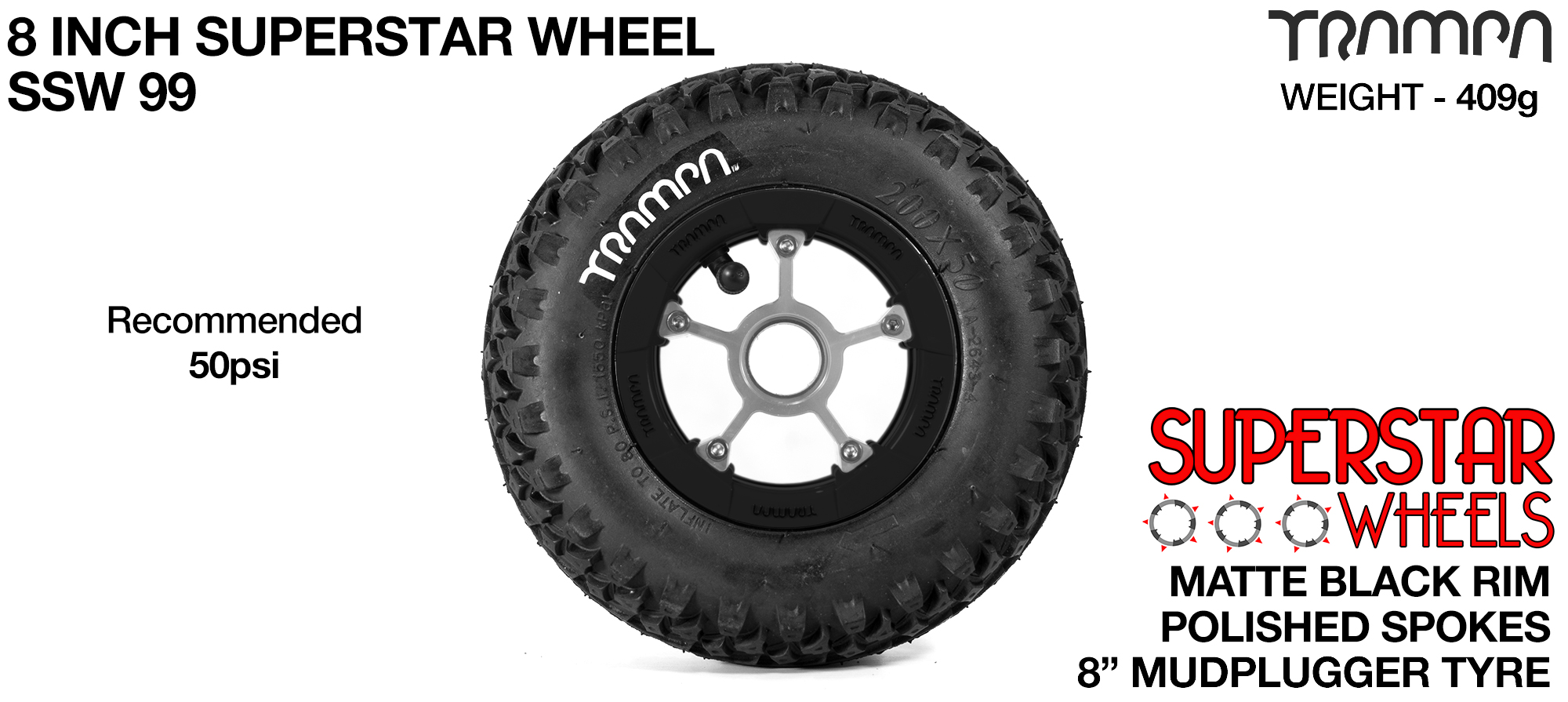 Superstar 8 inch wheels -  Matt Black Rim with Polished Spokes & Mud Plugger 8 Inch Tyre