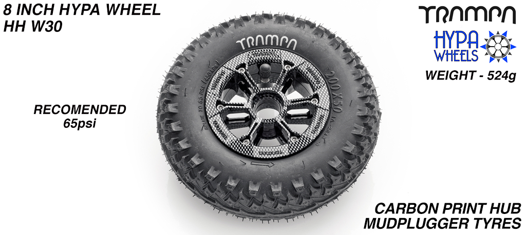 8 Inch Wheel - Carbon Print Hypa Hub with Mud-Plugger 8 Inch Tyre