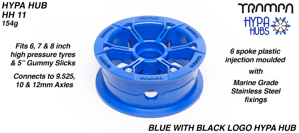 BLUE Gloss with BLACK logo HYPA HUB - Including Nuts, Bolts & Bearing Spacer.