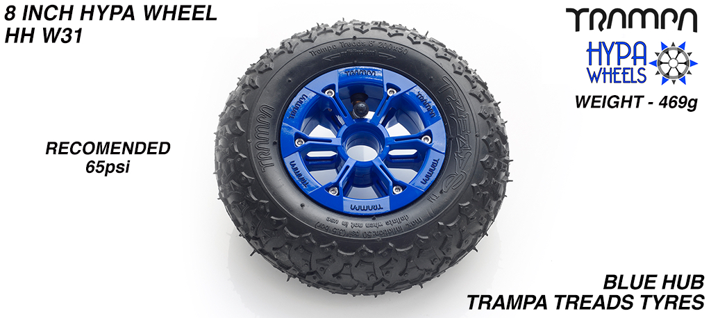 8 Inch Wheel - Blue & Black logo Hypa Hub with Trampa Treads 8 Inch Tyre