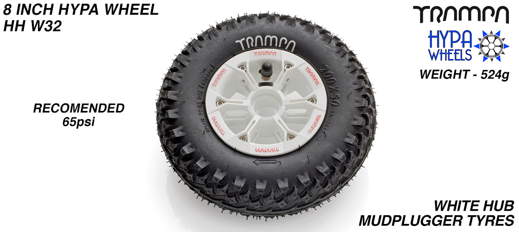 8 Inch Wheel - White & Red logo Hypa Hub with Mud-Plugger 8 Inch Tyre