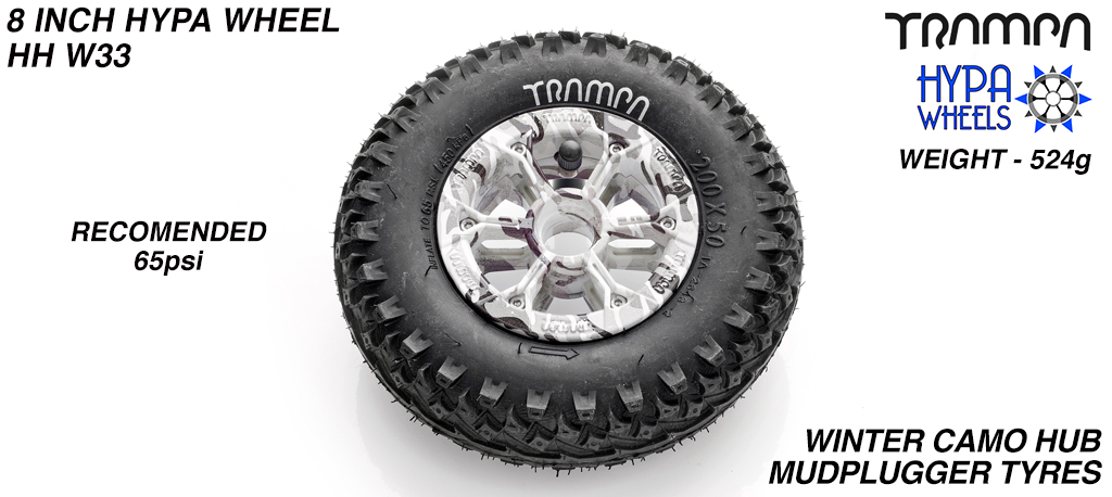 8 Inch Wheel - Winter Camo Hypa Hub with Mud-Plugger 8 Inch Tyre