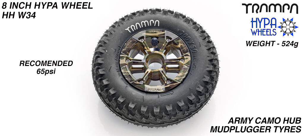 8 Inch Wheel - Army Camo Hypa Hub with Mud-Plugger 8 Inch Tyre