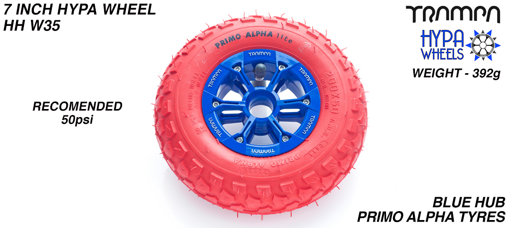8 Inch Wheel - Blue & Black logo Hypa Hub with Red Alpha 8 Inch Tyre