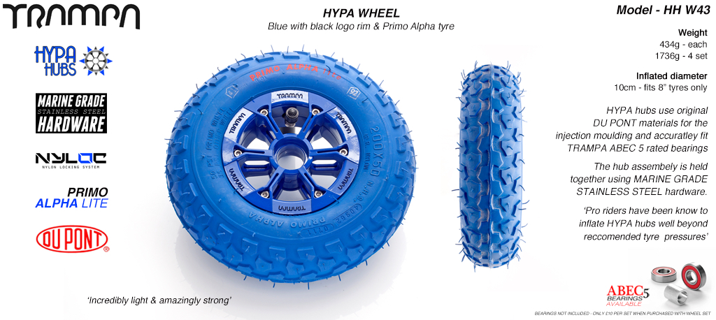 8 Inch Wheel - Blue & Black Logo Hypa Hub with Blue Alpha 8 Inch Tyre