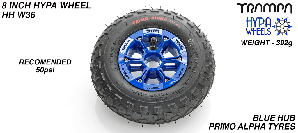 8 Inch Wheel - Blue & Black logo Hypa Hub with Black Alpha 8 Inch Tyre