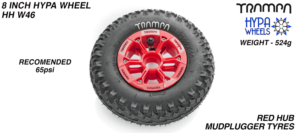 8 Inch Wheel - Red & Black Logo Hypa Hub with Mud-plugger 8 Inch Tyre