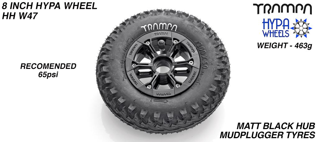 8 Inch Wheel - Matt Black Hypa Hub with Mudplugger 8 Inch Tyre