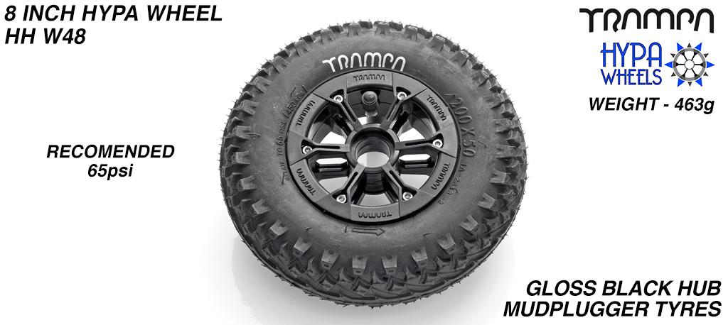 8 Inch Wheel - Gloss Black Hypa Hub with Mudplugger 8 Inch Tyre