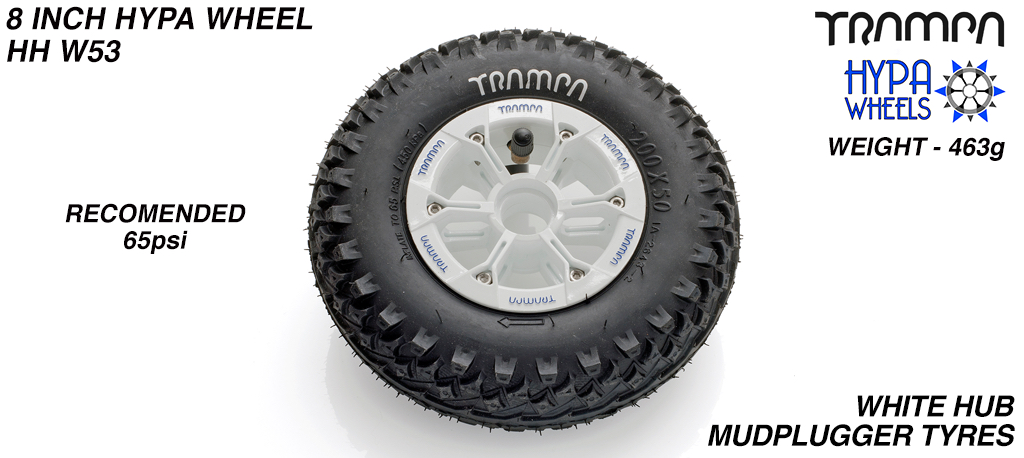 8 Inch Wheel - White & Blue logos hub with Mudplugger 8 Inch Tyre