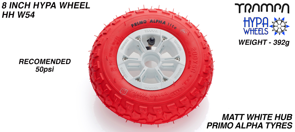 8 Inch Wheel - Matt White Hypa Hub with Red Alpha 8 Inch Tyre