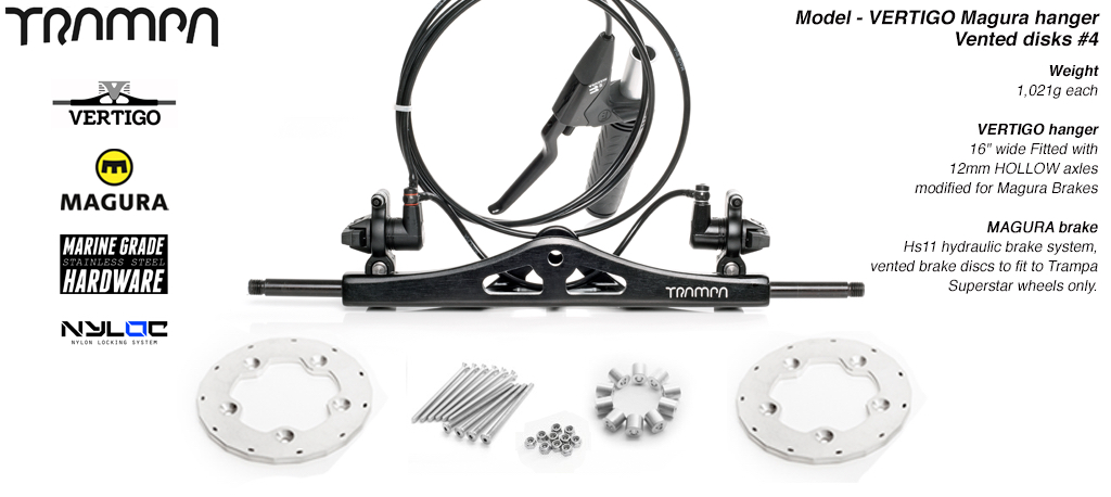 Vertigo Hanger - MAGURA Hydraulic Brakes with VENTED Disks to fit SUPERSTAR Wheels
