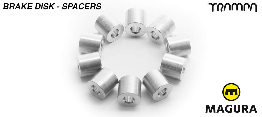 Brake disk to Superstar wheel spacer- for mounting a brake disk to a wheel - set of 10 (2 wheels)