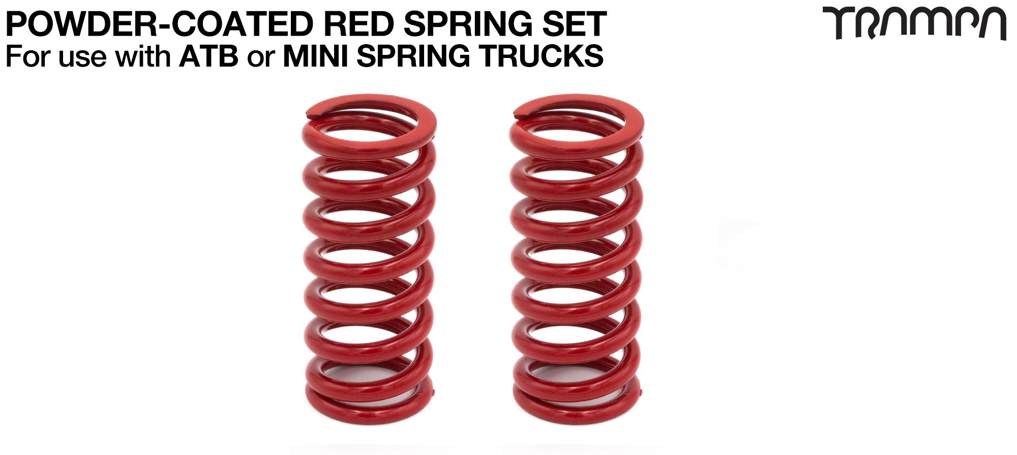 RED Powder coated Steel Springs x2