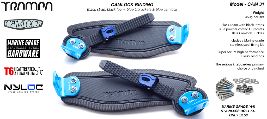 Camlock Bindings - Black straps on Blue Foam with White L Brackets & Camlocks
