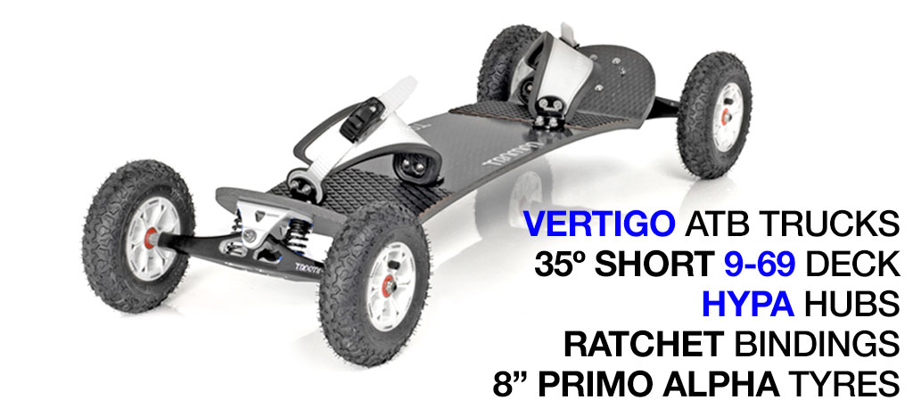 Mountainboard - 35� Long Deck On VERTIGO Trucks With 8 Inch HYPA Wheels & RATCHET Bindings - WHITE