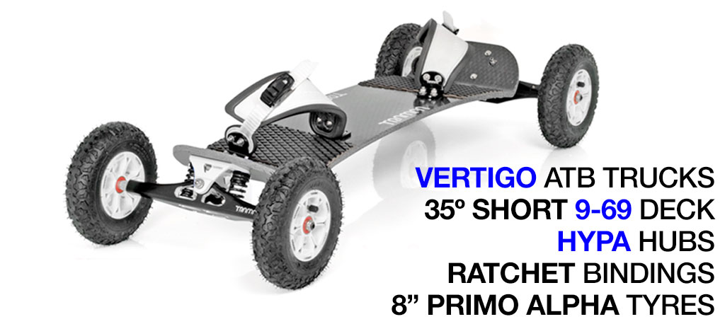 Mountainboard - 35� Short Deck On VERTIGO Trucks With 8 Inch HYPA Wheels & RATCHET Bindings - WHITE