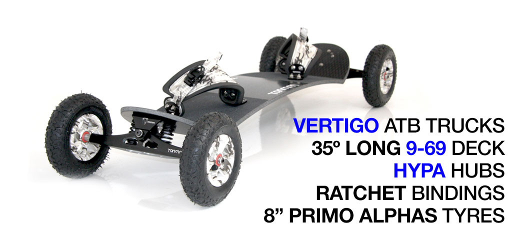 Mountainboard - 35� Long Deck On VERTIGO Trucks With 8 Inch HYPA Wheels & RATCHET Bindings - WINTER CAMO