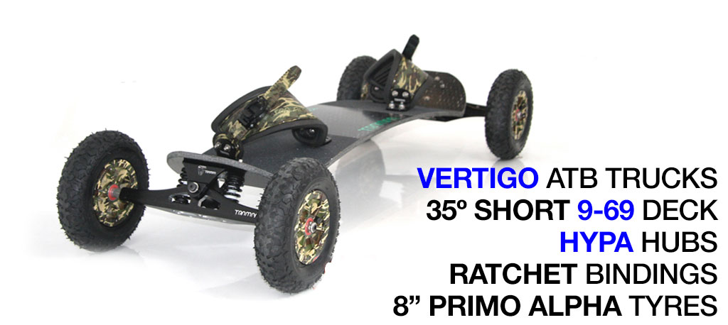 Mountainboard - 35� short Deck On VERTIGO Trucks With 8 Inch HYPA Wheels & RATCHET Bindings - ARMY CAMMO