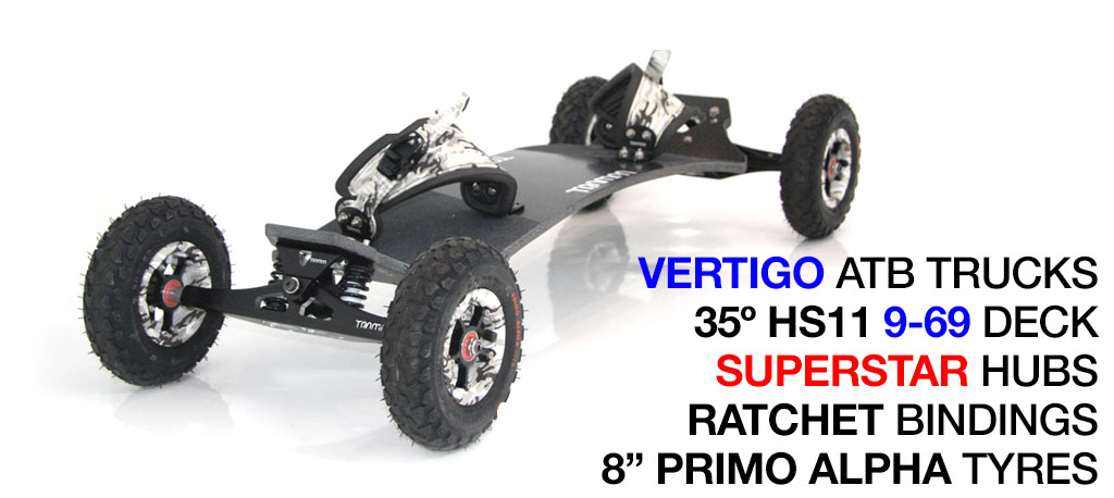 Mountainboard - 35� HOLY PRO On VERTIGO Trucks With 8 Inch SUPERSTAR Wheels & RATCHET Bindings - WINTER CAMMO