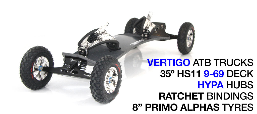 Mountainboard - 35� SHORT Deck On VERTIGO Trucks With 8 Inch HYPA Wheels & RATCHET Bindings - WINTER CAMMO