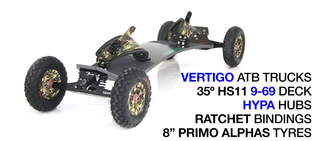 Mountainboard - 35� Long Deck On VERTIGO Trucks With 8 Inch HYPA Wheels & RATCHET Bindings - ARMY CAMMO