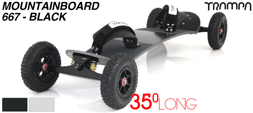 35º Long TRAMPA deck on INFINITY Trucks With HYPA Wheels & VELCRO Bindings - 667 BLACK MOUNTAINBOARD