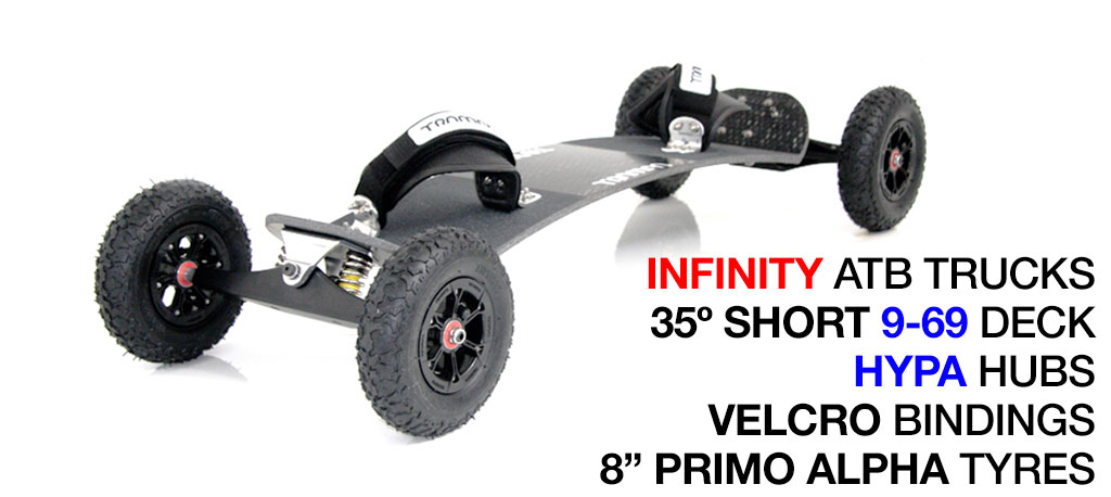 35º Short TRAMPA deck on INFINITY Trucks With HYPA Wheels & VELCRO Bindings - 666 SILVER MOUNTAINBOARD