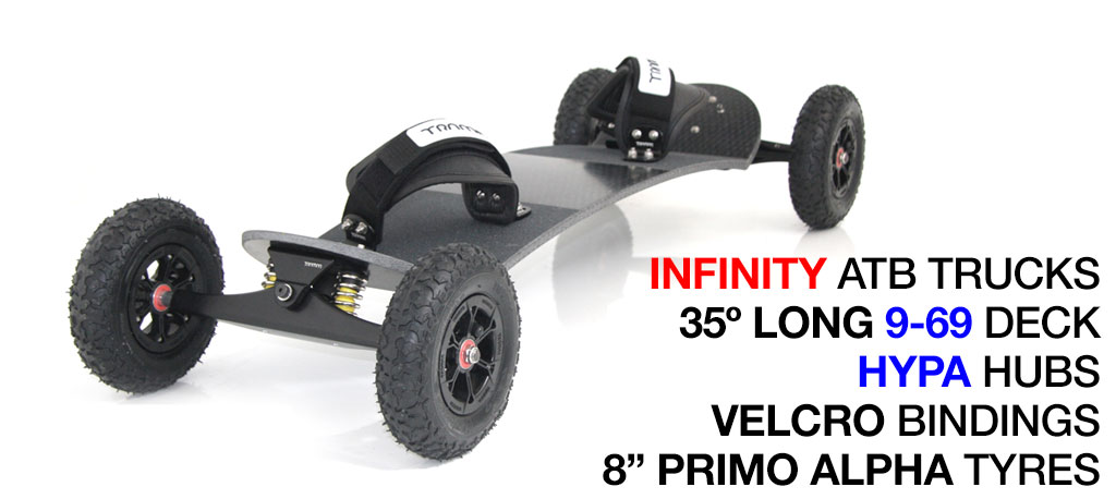 35º Long TRAMPA deck on INFINITY Trucks With HYPA Wheels & VELCRO Bindings - 667 SILVER MOUNTAINBOARD
