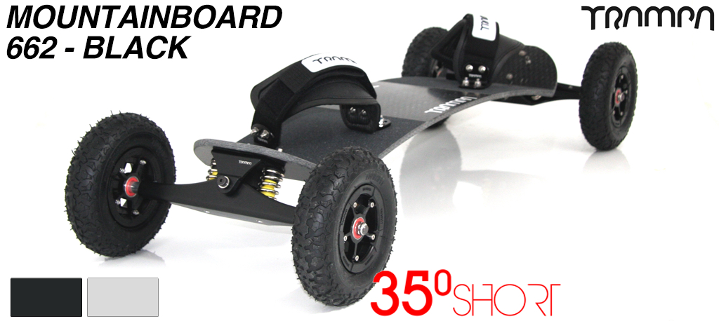 35º Short TRAMPA deck on INFINITY Trucks SUPERSTAR Wheels & VELCRO Bindings - 662 BLACK MOUNTAINBOARD